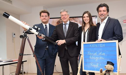 Rektor Vitouch, Landeshauptmann Kaiser, Christine Patterer und Stefan Sandriesser