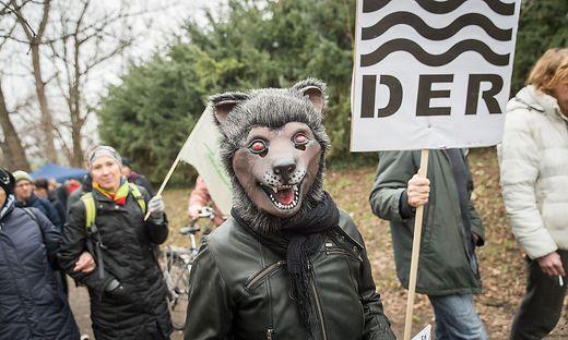 Rund 200 Demonstranten marschierten teils verkleidet die Mur entlang