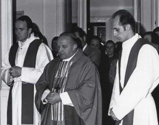 Johann Weber mit den späteren Bischöfen Christoph Schönborn und Egon Kapellari
