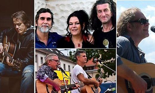 Am Hippiemarkt werden spielen: Markus Wutte (links), Harald Gangl Band, CHL.plus (unten) und Marcus Petek