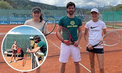 Jürgen Melzer mit den Talenten Emma und Lilli Tagger (r.). Beim Sichtungstraining schaut der Sportdirektor ganz genau hin