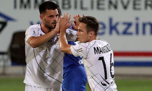 Haben gemeinsam in der laufenden Saison 25 Mal getroffen: Darijo Pecirep (8) und Oliver Markoutz (17)