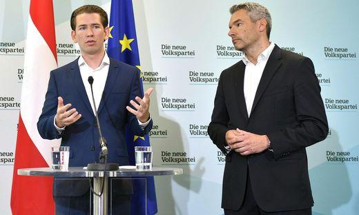 ÖVP-Chef Sebastian Kurz und Generalsekretär Karl Nehammer bei der Pressekonferenz