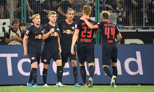 Leipzig jubelte mit Timo Werner (2. von links)