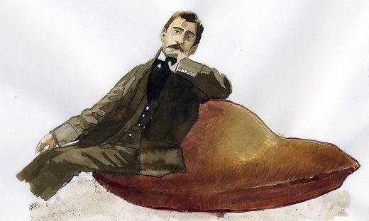 Portrait de l ecrivain francais Marcel Proust 1871 1922 assis sur sa madeleine Portrait of french