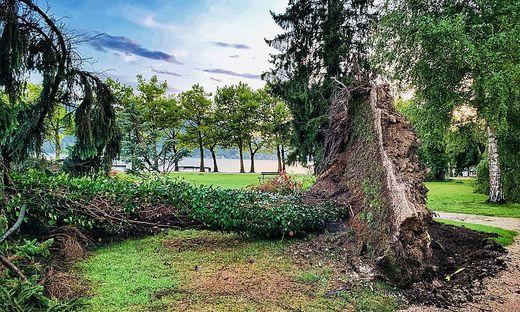 Über das Strandbad Klagenfurt und den Europapark fegte ein starker Sturm hinweg