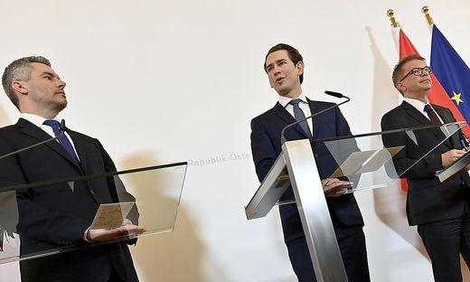 """Das """"Triumvirat"""": Nehammer, Kurz, Anschober"""