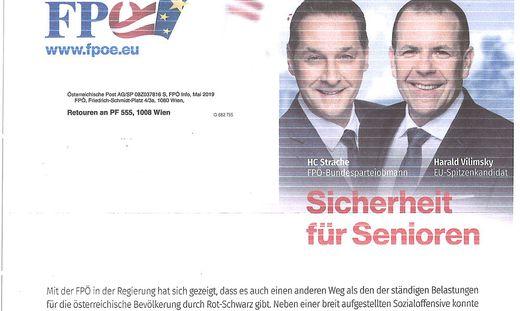 Mit solchen Briefen wirbt die FPÖ bei Senioren. (Aus Datenschutzgründen haben wir hier die Adressaten entfernt)