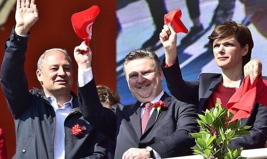Schieder, Ludwig und Rendi-Wagner im Rahmen der SPÖ-Maifeierlichkeiten in Wien