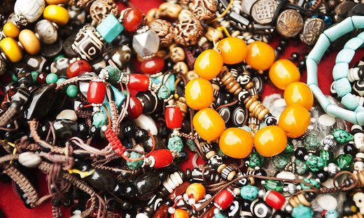 Assorted beads at a market stall, Swayambhunath, Kathmandu, Nepal