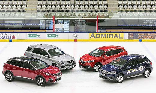 SUV-Palette: Peugeot 3008, Mercedes GLE, Renault Kadjar und Suzuki SX4 S-Cross