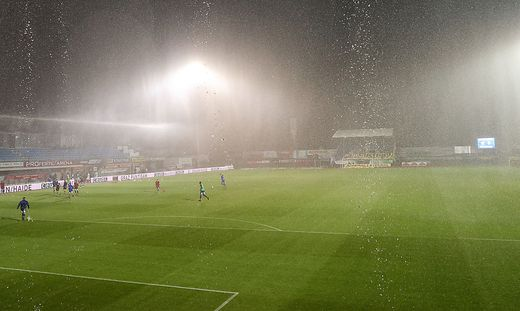 Starker Regen in Hartberg verhindert eine planmäßige Austragung des Spiels