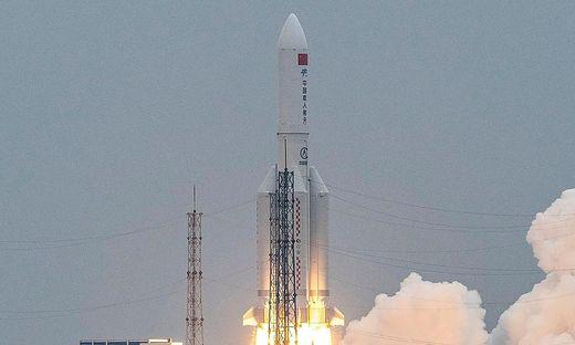 Eine Rakete vom Typ Langer Marsch-5B hatte Ende April das erste Modul einer neuen chinesischen Raumstation ins All gebracht