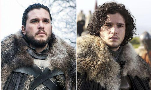 Er hat einiges erlebt: Jon Snow am Beginn und vor dem Ende der letzten Staffel