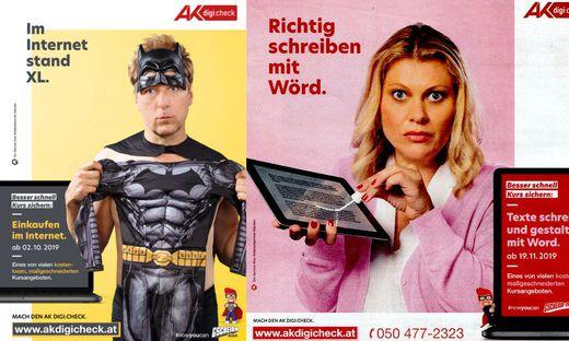 Max Müller und Magda Kropiunig spielten die Models für die satirische Werbekampagne der Arbeiterkammer Kärnten. Das Sujet rechts wird jetzt ausgetauscht