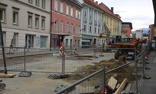 Die Baustelle in der St.Veiter Straße.