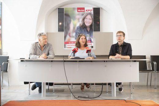 Klubobmann Eber, Spitzenkandidatin Kahr und Gesundheitsstadtrat Krotzer bei der Pressekonferenz.