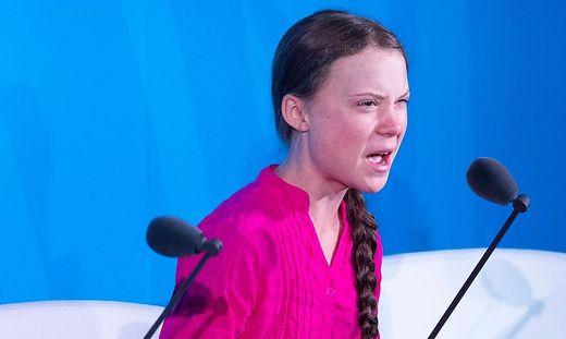 Greta bei ihrer Rede in New York