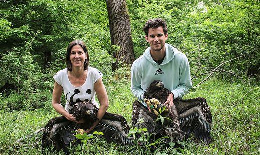 WWF-Geschäftsführerin Andrea Johanides und Dominic Thiem