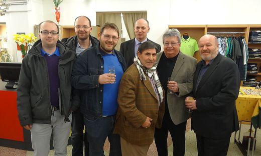 Eröffnung mit Ludwig Gojer, Kajetan Glantschnig, Carlo Colazzo, Friedrich Wintschnig, Fernando Colazzo, Gottfried Wedenig und Arno Ruckhofer (von links)