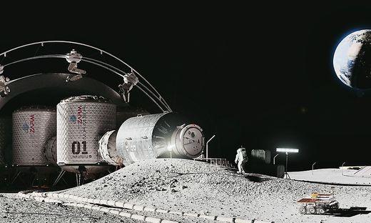 So soll die aus Modulen bestehende Siedlung am Mond im Vollausbau aussehen