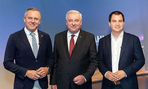 FPOe Mario Kunasek, OeVP Hermann Schuetzenhoefer, SPOe Michael Schickhofer