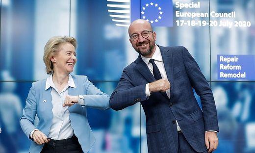 Ursula von der Leyen und Charles Michel Dienstagfrüh in Brüssel