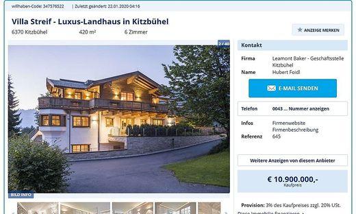"""Die """"Villa Streif"""" bei Willhaben um 10,9 Millionen Euro angeboten"""