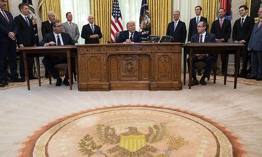 Donald Trump, Aleksandar Vucic, Avdullah Hoti
