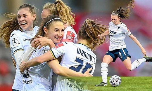 Der Jubel nach dem Sieg gegen die Frauen von Bayern München war bei Katharina Naschenweng und ihren Kolleginnen riesig