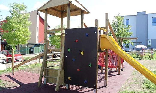 Ein Paradies für kleine und große Kinder ist der neue Spielplatz am Maigoldplatz