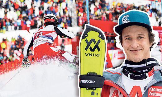 Der 23-jährige Reichenauer Adrian Pertl sorgte beim Slalom-Spektakel in Kitzbühel für Furore