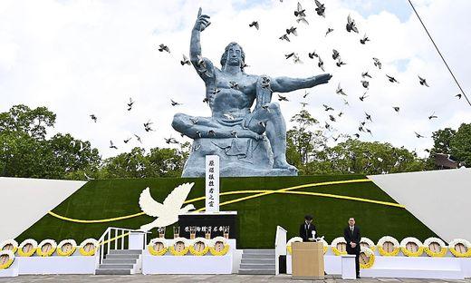 Nagasakis Bürgermeister warnte in seiner Rede eindringlich vor der erneut wachsenden Gefahr durch Atomwaffen in der Welt