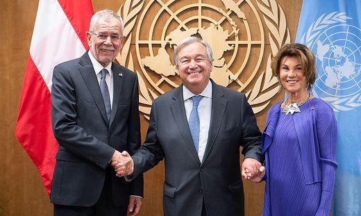 Bundespräsident Alexander Van der Bellen, UNO-Generalsekretär Antonio Guterres und Bundeskanzlerin Brigitte Bierlein bei einem Treffen im Rahmen der UNO-Vollversammlung