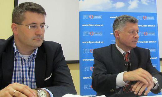 Christian Schandor (links) an der Seite von FP-Obmann Gerhard Kurzmann
