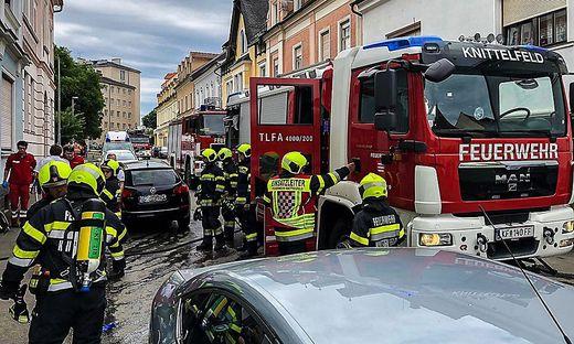 Im Stadtzentrum von Knittelfeld brach am Donnerstagnachmittag ein Brand aus