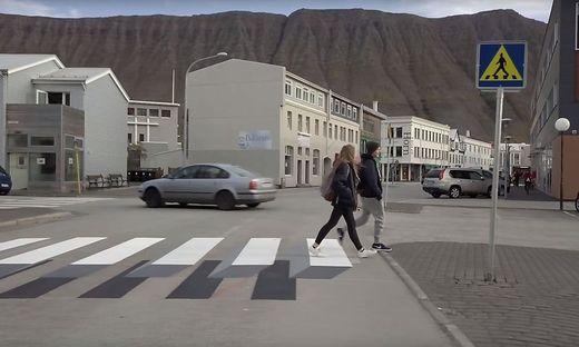 In Island sorgte ein 3D-Zebrastreifen für Aufsehen