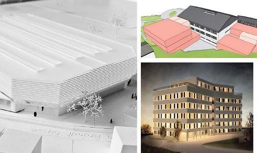 Drei große Bauprojekte des Jahres 2021: die neue Eishalle in Kapfenberg (links), der Brucker Wirtschaftspark (rechts) und der Bildungscampus in Mariazell