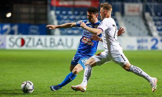 Austrias Fabian Miesenböck (r.) spielte gegen den FAC mit einem gebrochenen Zeh. Ob er am Montag zum Einsatz kommt, ist fraglich