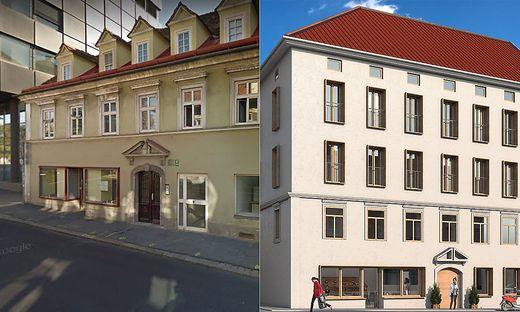 Links der Altbestand, rechts wie das Haus nach dem Ausbau aussehen soll