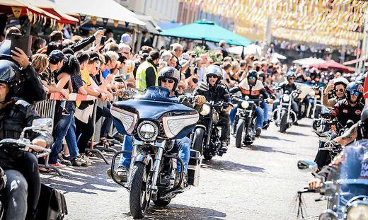 Die Harley-Parade ist in normalen Jahren einer der Höhepunkte der European Bike Week
