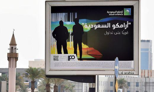 Werbung für den Börsengang von Saudi Aramco