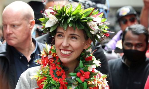 New Zealand Prime Minister Ardern greets supporters in Auckland