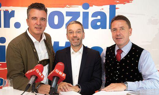 Kickl konnte sich der Zustimmung aus Kärnten sicher sein: Mit Gernot Darmann und Erwin Angerer