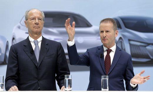 VW-Boss Diess (rechts) und Aufsichtsrats-Chef Pötsch