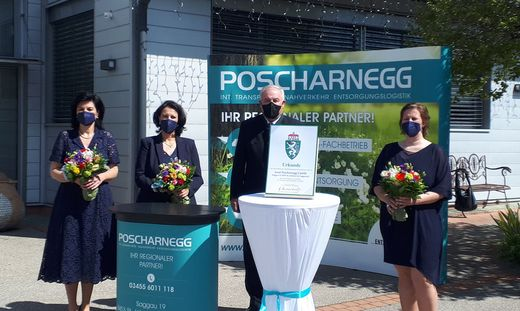 Landeshauptmann Hermann Schützenhöfer mit dem Führungsteam der Poscharnegg GmbH Sabine Poscharnegg, Ulrike Poscharnegg-Kriebernegg und Sandra Poscharnegg
