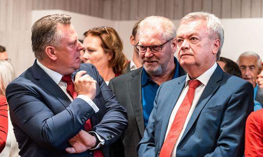 Ehmann, Schachner (ÖGB) und Vize-LH Lang
