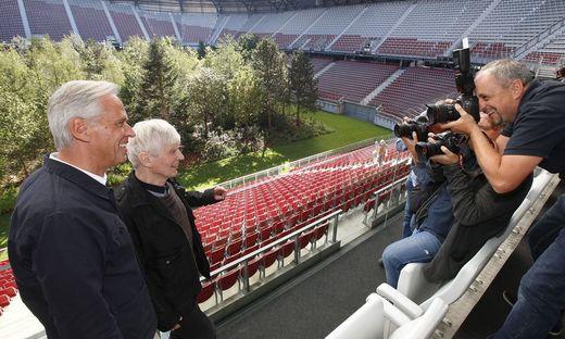 Littmann und Ideengeber Max Peintner bei der Pressekonferenz Anfang September