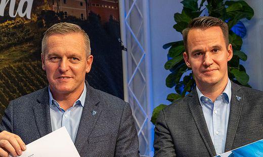 FP-Chef Mario Kunasek und der Vizebürgermeister von Feldkirchen, Stefan Hermann