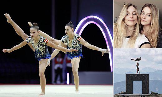 Franziska Seiner und Eva Gasser legten bei der EM eine gelungene Balance-Kür hin. Rechts oben: Anna und Eva sind ein eingespieltes Team.